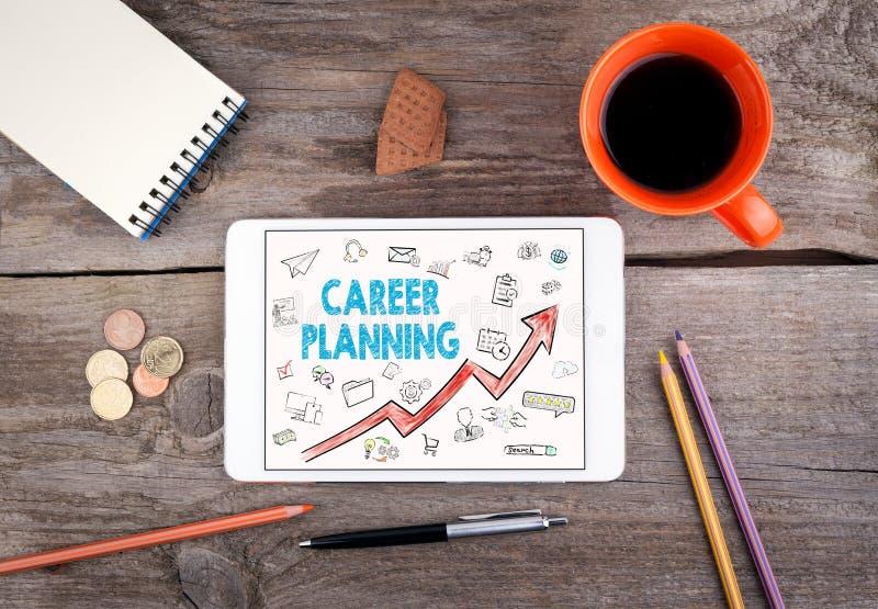 Planung- der beruflichen Laufbahngeschäfts-Konzept Tablet auf einem alten Holztisch stockfotos