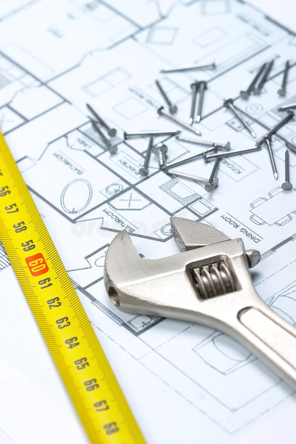 Planung, ein Haus aufzubauen stockbild