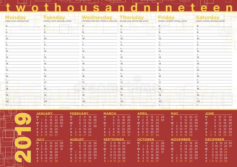 Planung 2019 mit Kalender und Tagesprogramm, Englisch und othe stock abbildung
