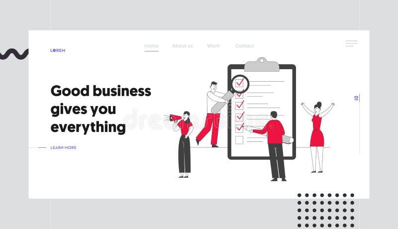 Planungs- und Kreativ-Prozess-Website-Landing-Seite Geschäftsleute stehen an einer riesigen Zwischenablage mit Checkliste stock abbildung