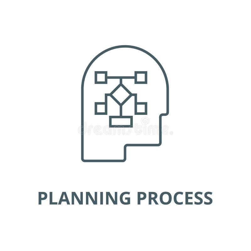 Planungsprozesshauptvektorlinie Ikone, lineares Konzept, Entwurfszeichen, Symbol lizenzfreie abbildung