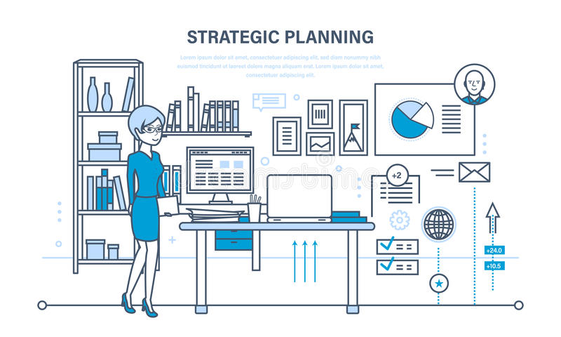 Planungsstrategie, Marketingstrategie Investitionswachstum, Management, Planungsprozeß, Sitzung lizenzfreie abbildung