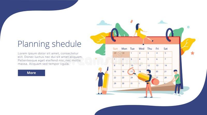 Planungsvektorillustration Flaches Minipersonenkonzept mit Zeitplankalender System, zum des täglichen Programms zu organisieren stock abbildung
