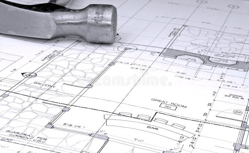 plany architektoniczne młot plany obraz stock