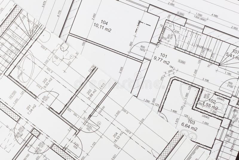 Plany budynek Architektoniczny projekt Podłogowy plan projektował budynek na rysunku obraz royalty free