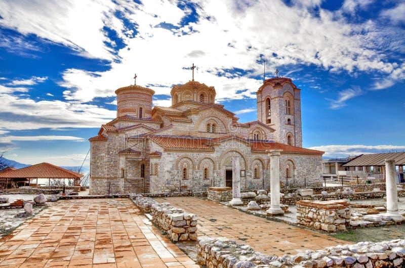 Plaoshnik Ohrid, Makedonien - St Pantelejmon för ortodox kyrka royaltyfri foto