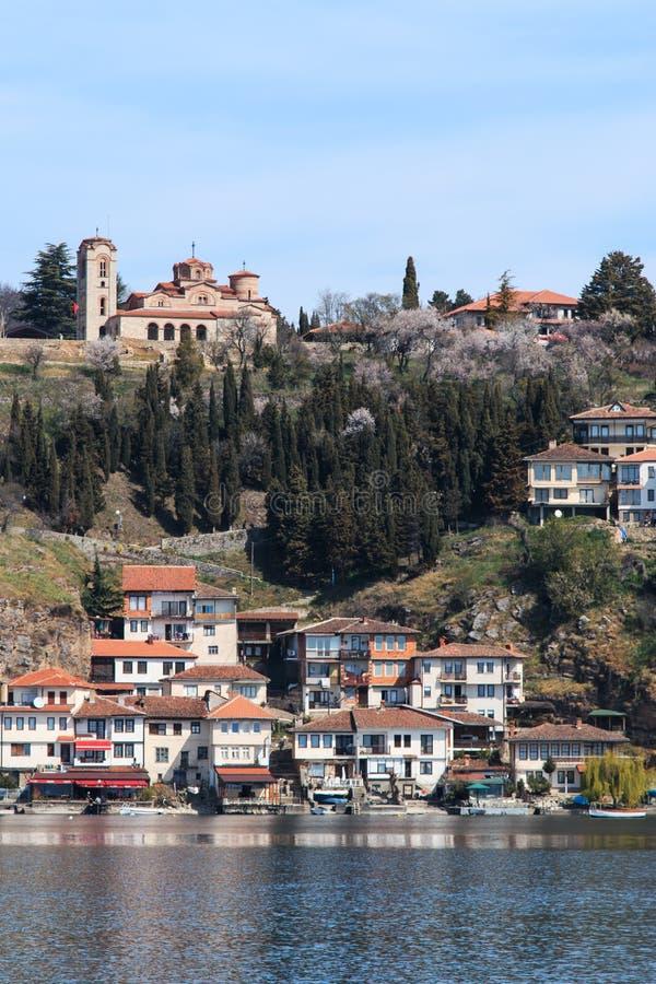 Plaosnik Lub świętego Kliment kościół i Ohrid jezioro, Macedonia zdjęcia stock