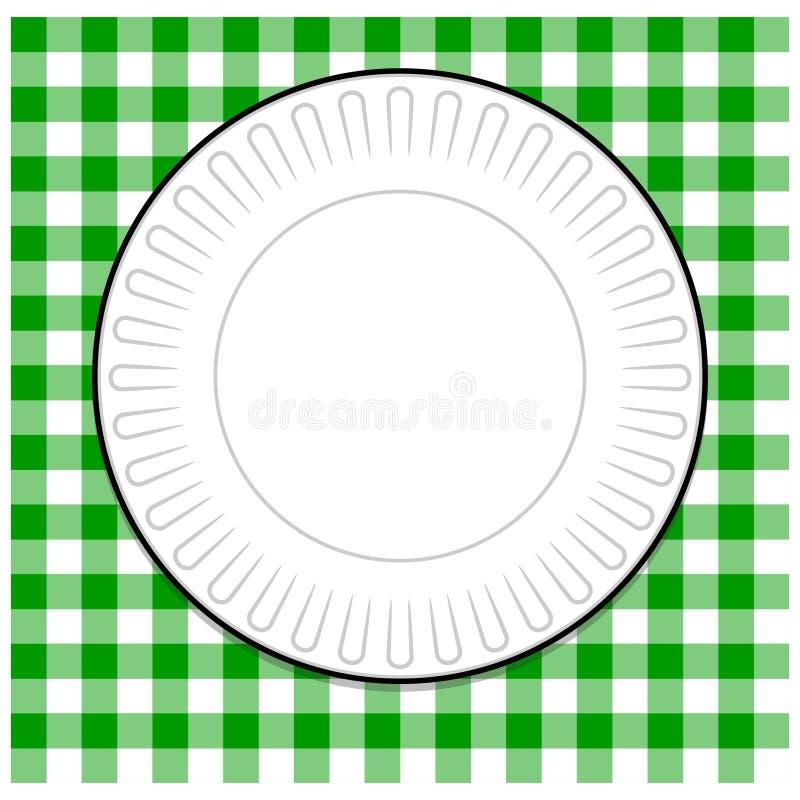 Plaque à papier avec la nappe verte illustration stock