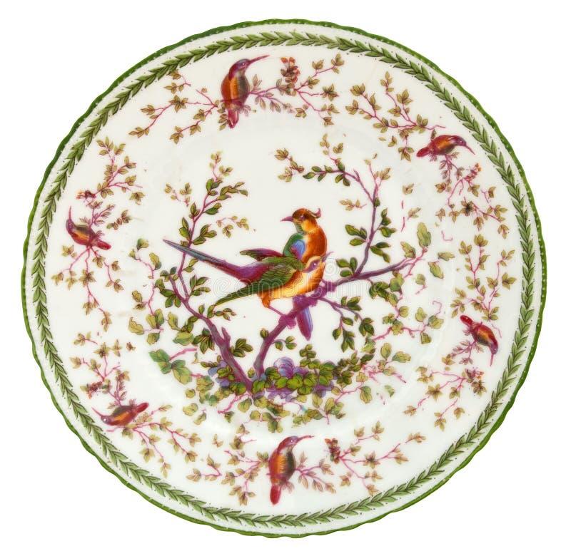 Plaque antique de porcelaine images stock