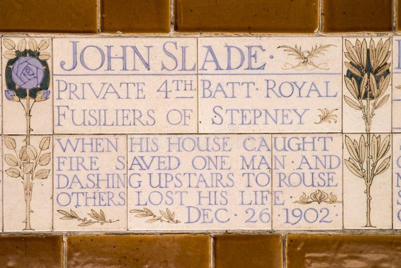 Plaque au mémorial au dévouement héroïque à Londres photos libres de droits