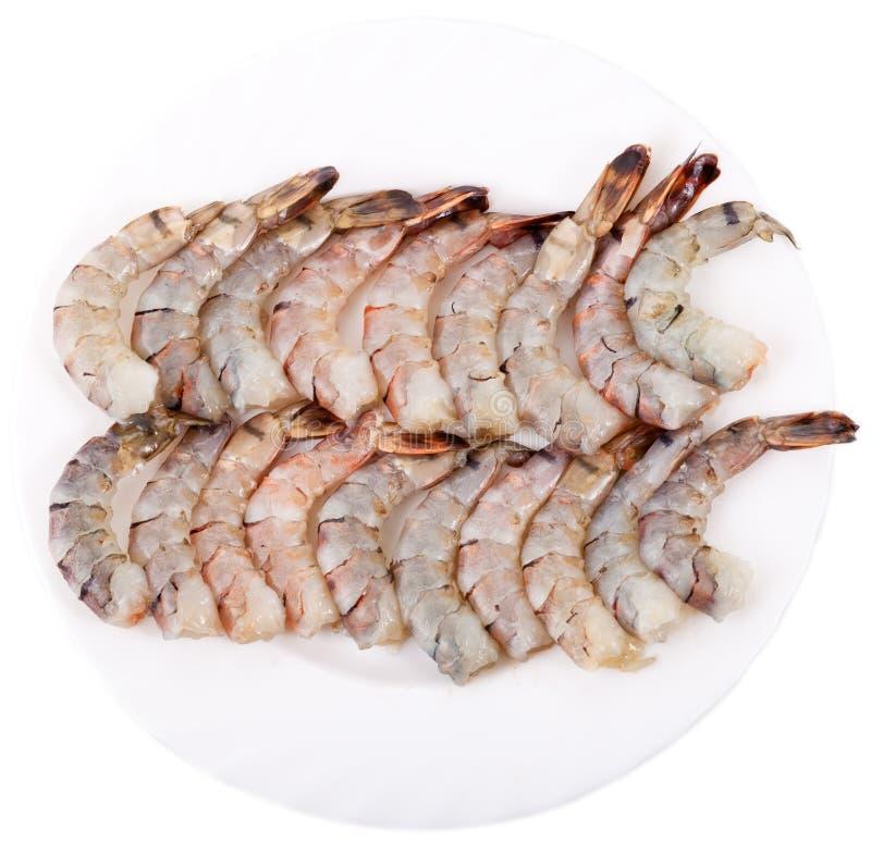 Plaque avec des crevettes roses de tigre photos libres de droits