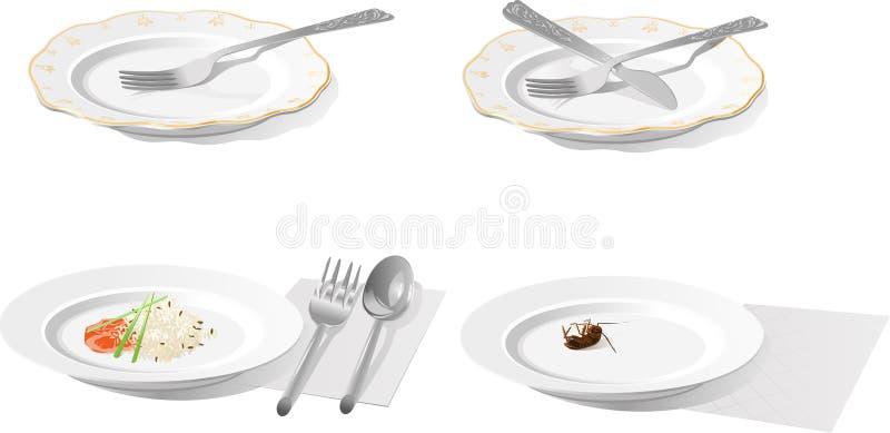 Plaque avec la fiche, le couteau, la cuillère, le riz et le cancrelat photo libre de droits