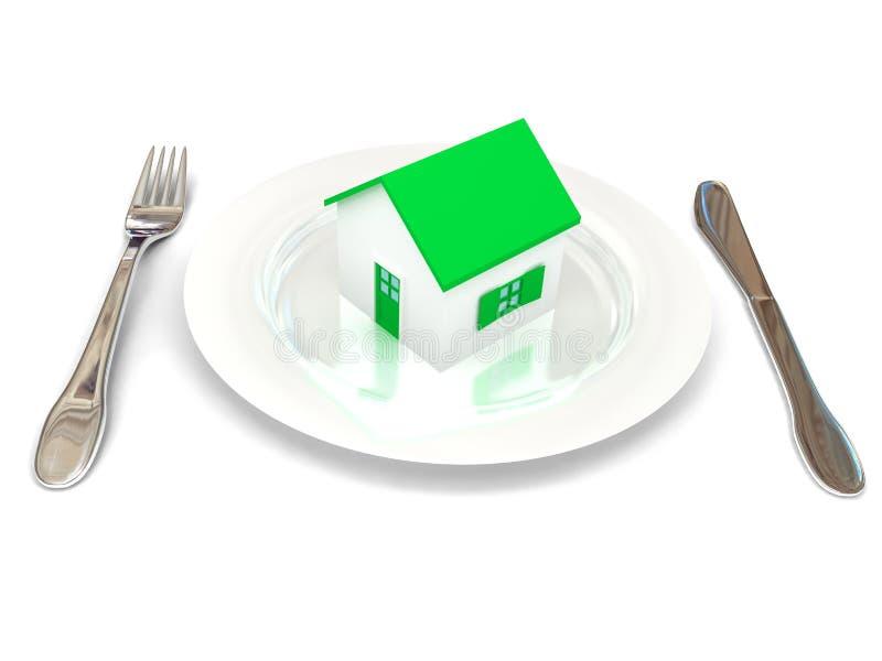 Plaque avec la maison au-dessus du blanc illustration de vecteur