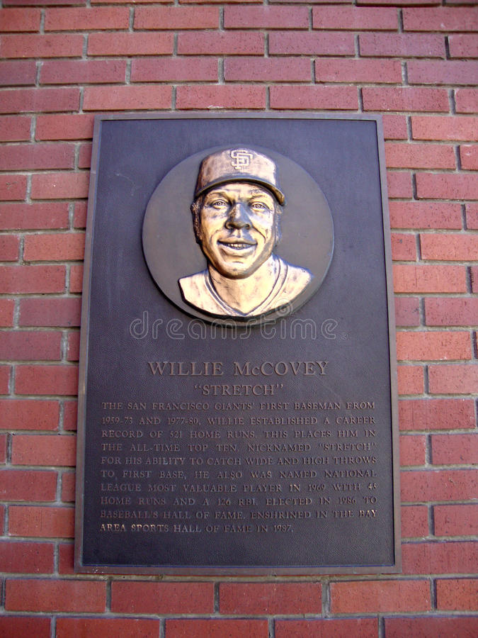 Plaque of baseball legend Willie McCovey on wall. SAN FRANCISCO - APRIL 6: Plaque of baseball legend Willie McCovey on wall of AT&T Park in Mission Bay San stock images