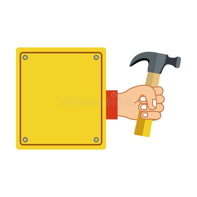 plaque colorée de silhouette avec la main tenant le marteau illustration stock