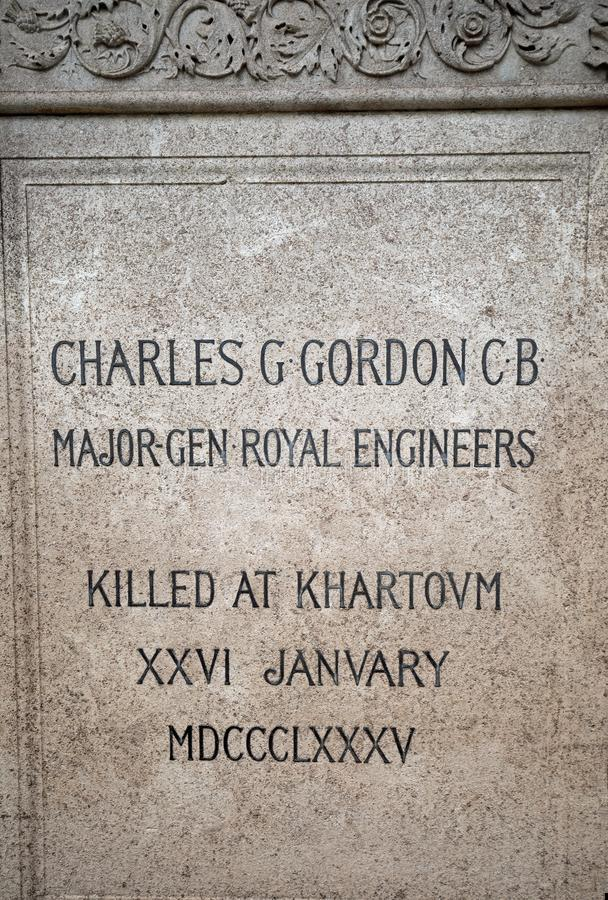 Plaque commémorative de Major General Charles George Gordon qui était une armée dans l'armée britannique, janvier 2018 photos libres de droits