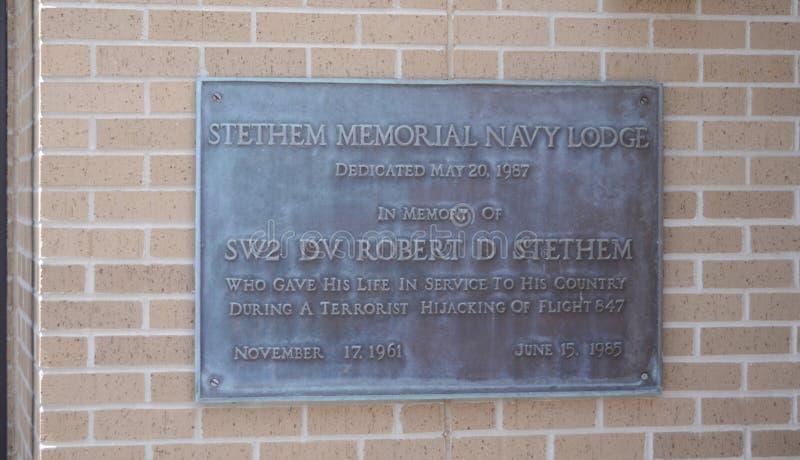 Plaque commémorative de Stethem, Gulfport, Mississippi image stock