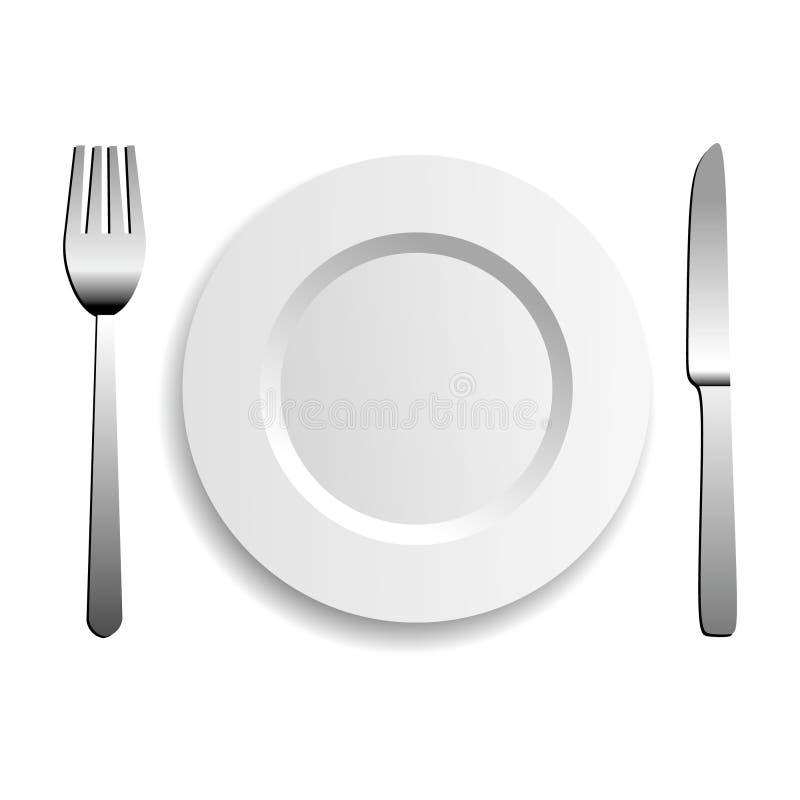 Plaque, couteau et fourchette illustration stock