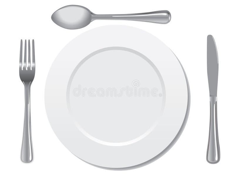 Plaque, cuillère, fourchette, et couteau illustration de vecteur