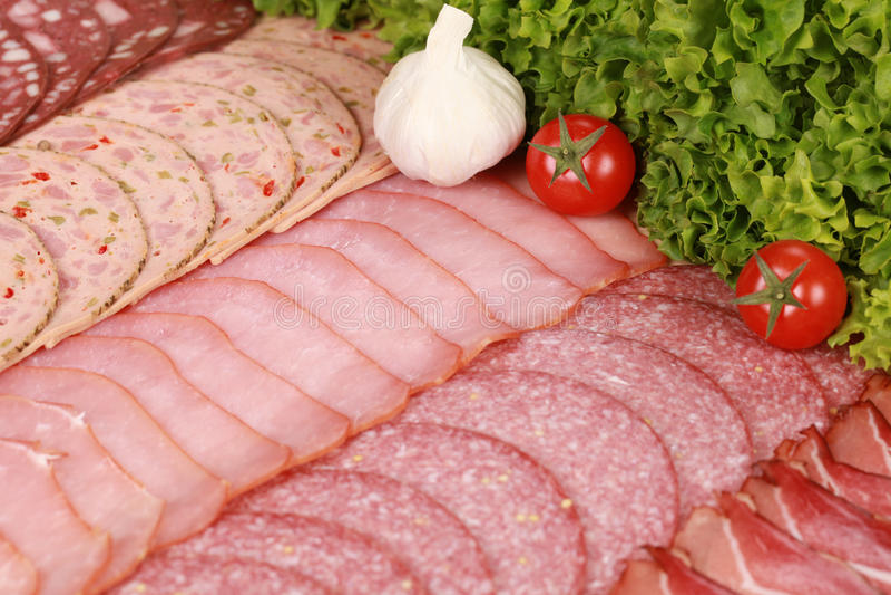 Plaque d'épicerie fine de viande images stock