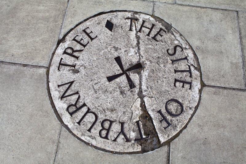Plaque d'arbre de Tyburn (potence) à Londres images stock