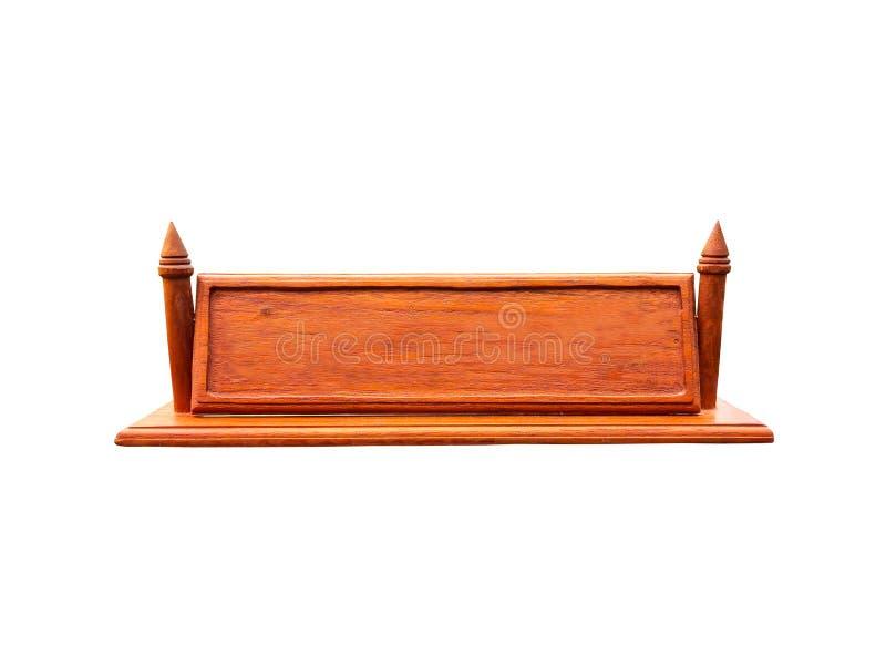 Plaque d'identification en bois vide sur le fond blanc photographie stock