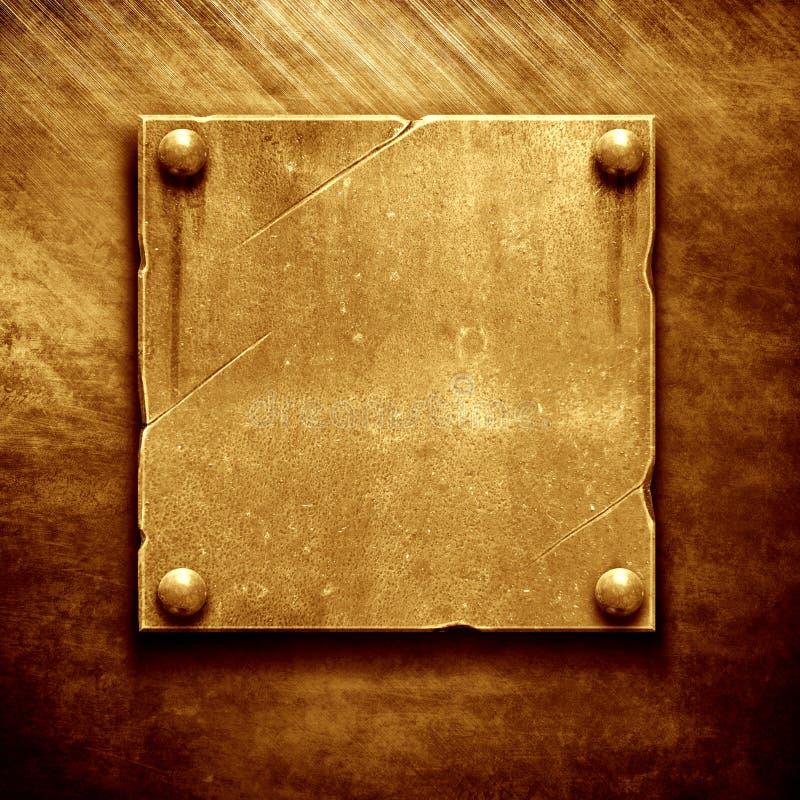Plaque d'identification en métal d'or photo libre de droits