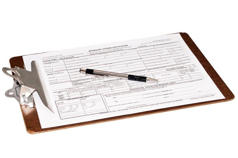 Plaque d'immatriculation de mariage sur une planchette images stock