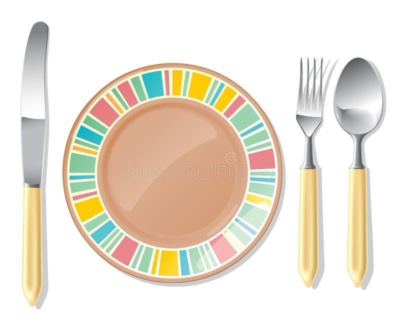 Plaque de Brown, cuillère en acier, fourchette, couteau illustration de vecteur