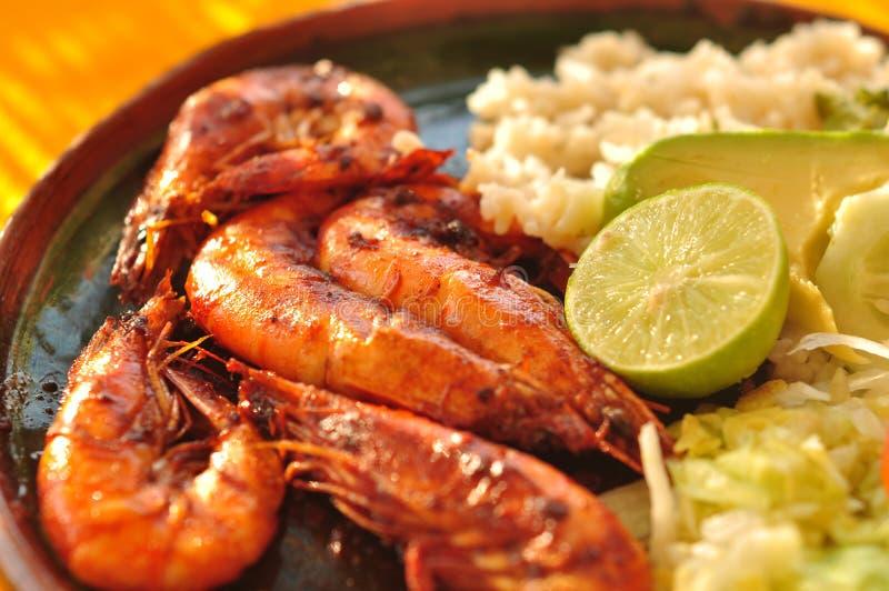 Plaque de crevette - nourriture mexicaine photos libres de droits
