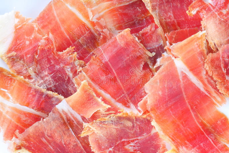 Plaque de jambon de Serrano images libres de droits