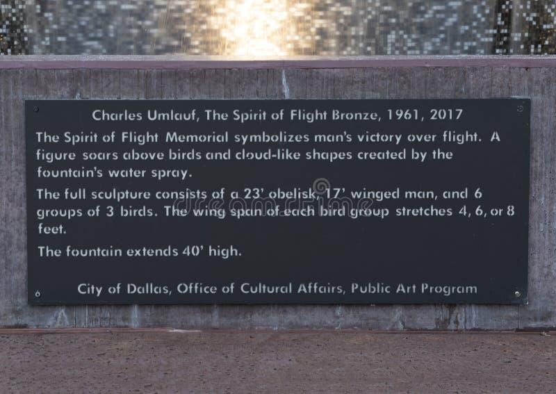Plaque de l'information, l'esprit du bronze de vol, champ d'amour, Dallas, le Texas images stock