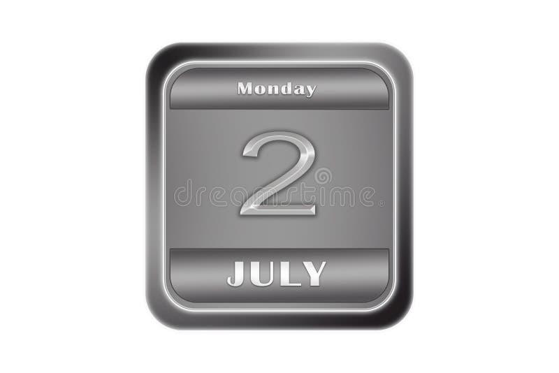 Plaque de métal avec date le 2 juillet, lundi illustration de vecteur