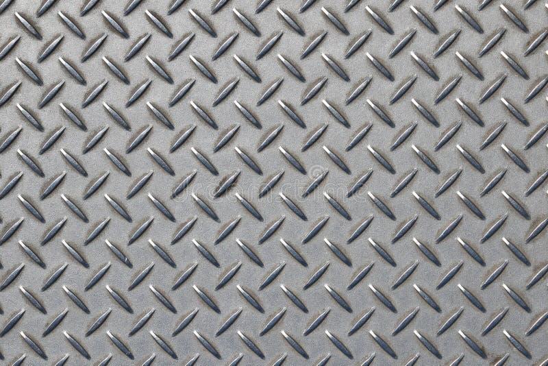 Plaque de métal grise d'anti glissement avec le modèle de diamant images stock