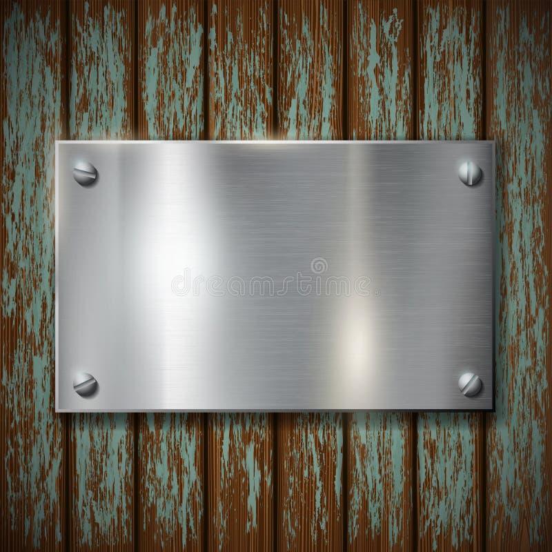 Plaque de métal sur un mur en bois illustration de vecteur