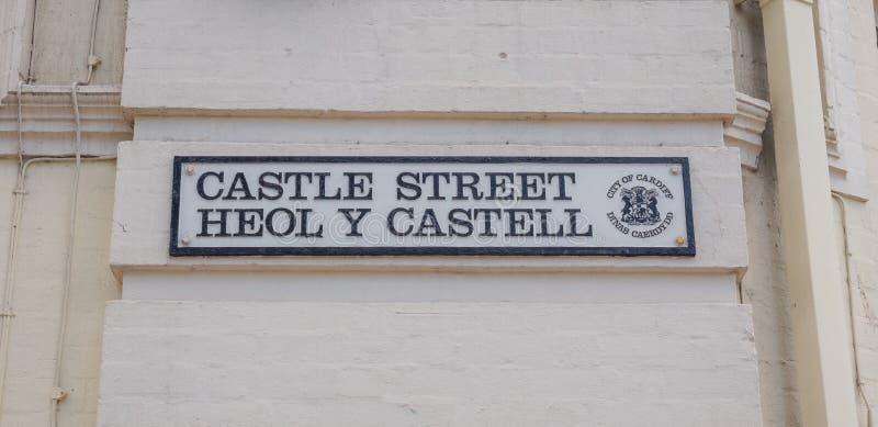 Plaque de rue bilingue de gallois photo libre de droits