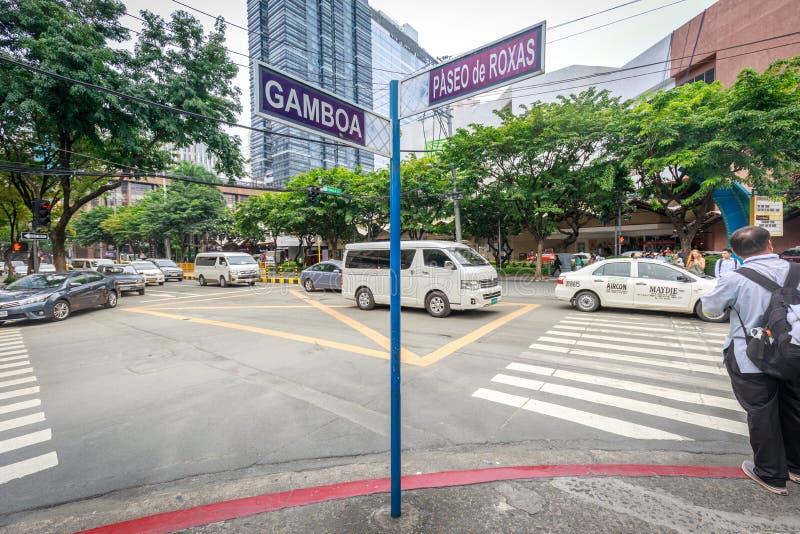 Plaque de rue de Paseo de Roxas le 4 septembre 2017 dans la ville de Makati, métro photo libre de droits