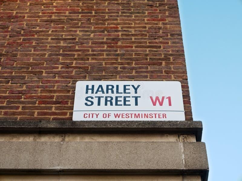 Plaque de rue pour Harley Street, Londres, R-U photos stock