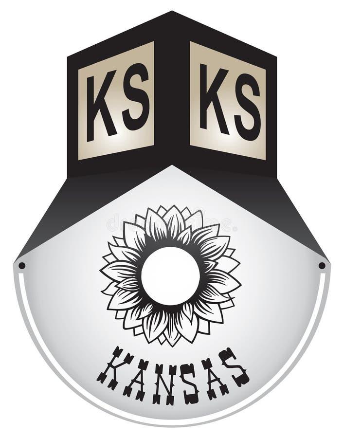 Plaque de rue de vintage pour le Kansas illustration stock