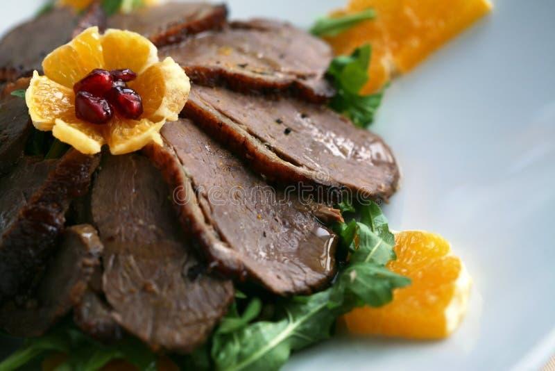 Plaque de viande de canard photographie stock