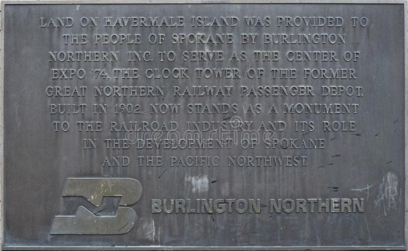 Placque for Great Northern Railway clock stock images