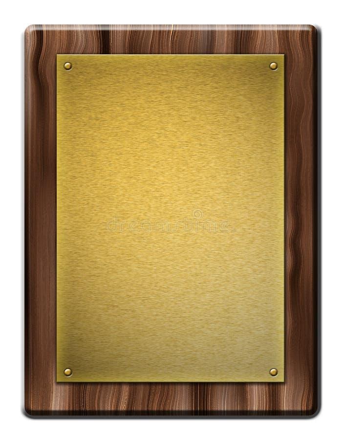 Plaque en bois avec la fine couche d'or illustration stock