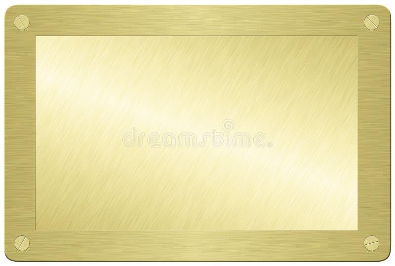 Plaque en bois avec le métal balayé d'isolement sur le blanc illustration libre de droits
