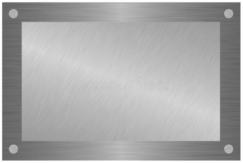 Plaque en bois avec le métal balayé d'isolement sur le blanc illustration de vecteur