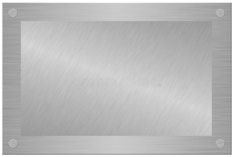 Plaque en bois avec le métal balayé d'isolement sur le blanc illustration stock