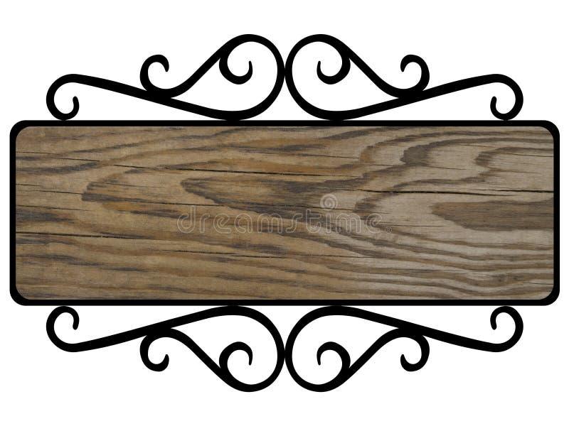 Plaque en bois dans le cadre noir forgé illustration stock
