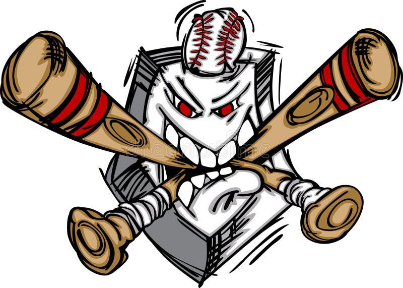 Plaque et 'bat' du base-ball de base-ball illustration de vecteur