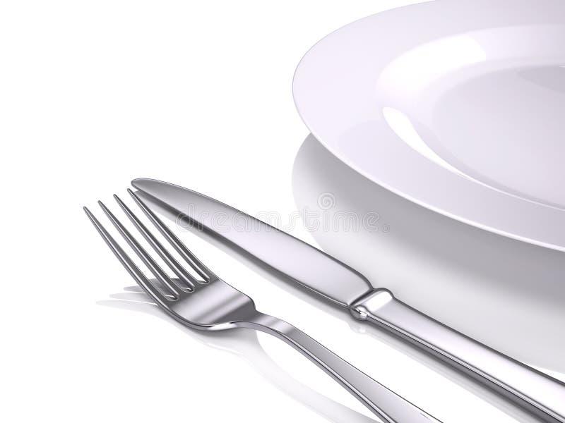 Plaque, fourchette et couteau vides illustration de vecteur