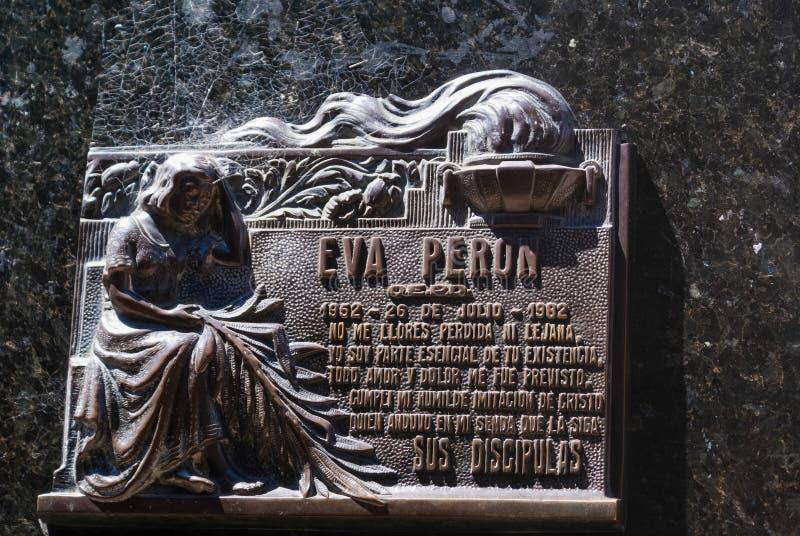 Plaque on Grave of Evita Peron stock image