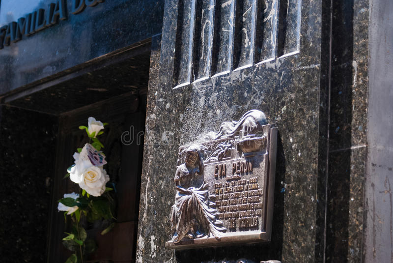 Plaque on Grave of Evita Peron royalty free stock photo